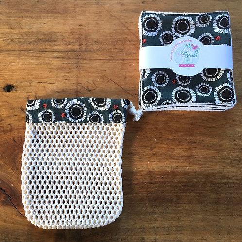 Duo 5 lingettes démaquillantes + filet à savon, coton bio