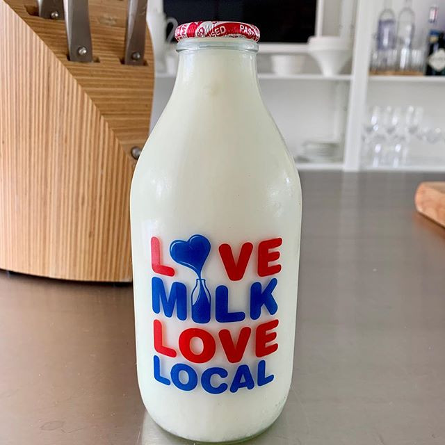Fresh cold milk in a glass bottle....
