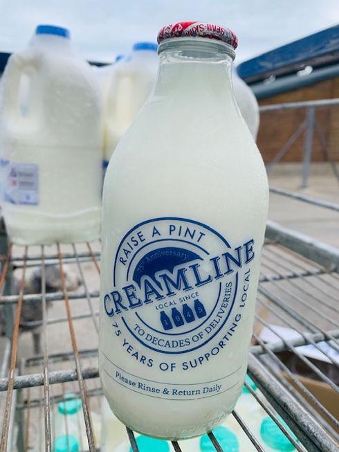 Milk in a glass bottle