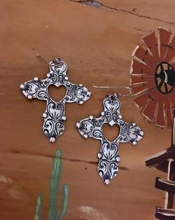 Cross Open Heart Earrings, very light weight, classic dress up or down earrings 96