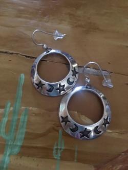 Star and Moon Hoop Earrings.