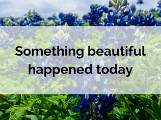 Something beautiful happened today