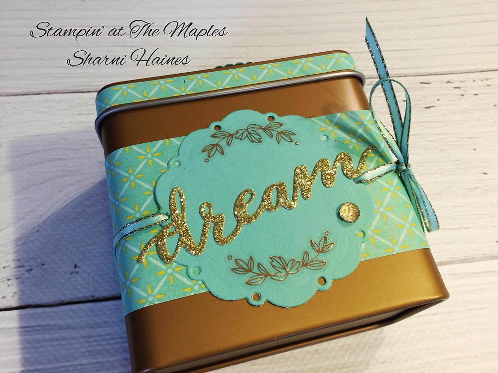 Copper Tea Tin decorated with Tea Room Designer Series Paper.