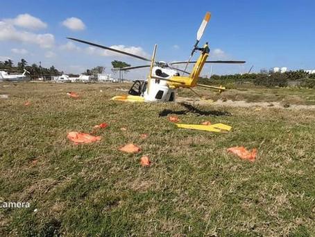 GRAVE ACCIDENTE AL DESPLOMARSE EL HELICOPTERO EN DOS BOCAS TABASCO.