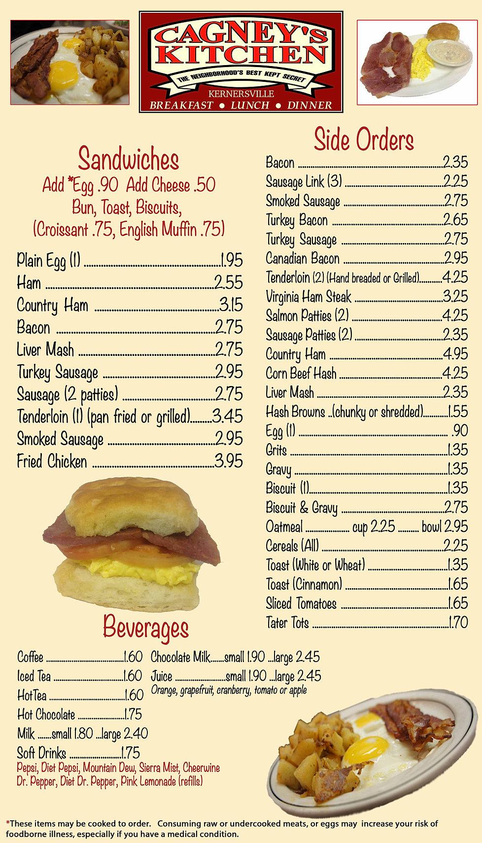 Cloverdale Kitchen Breakfast Menu
