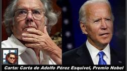 Carta: Carta de Adolfo Pérez Esquivel, Premio Nobel de la Paz al Presidente de los Estados Unidos