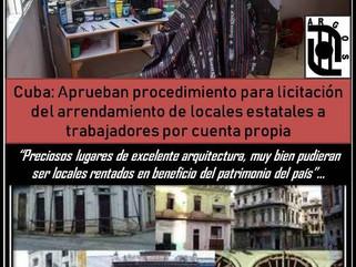 Cuba: Aprueban procedimiento para licitación del arrendamiento de locales estatales a trabajadores