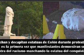 EE.UU: Manchan y decapitan estatuas de Colón durante protestas contra el racismo