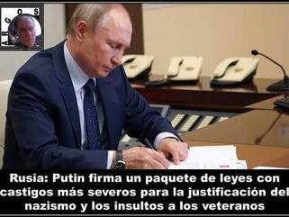 Rusia: Putin firma un paquete de leyes con castigos más severos para la justificación del nazismo y