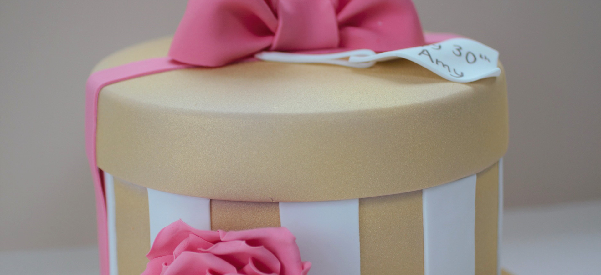 Gold and pink hatbox cake