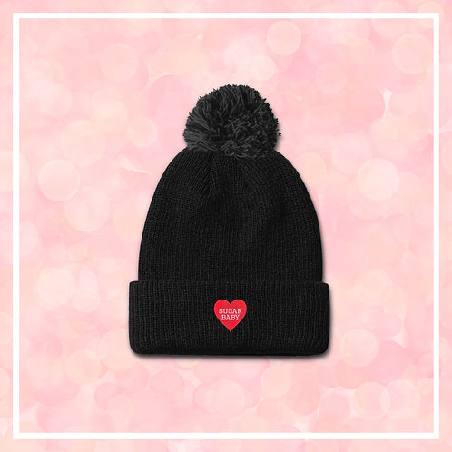 Embroidered SUGAR BABY Valentines Heart Black Bobble Hat