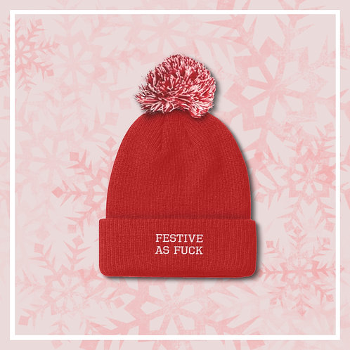 Festive As F**k Embroidered Bobble Hat