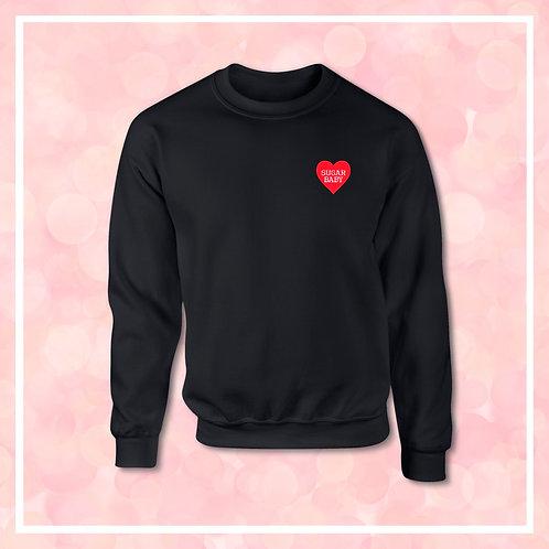 Embroidered SUGAR BABY Valentines Heart Black Sweatshirt