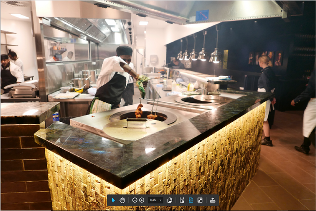Stainless steel tandoori benchtops with steel rings