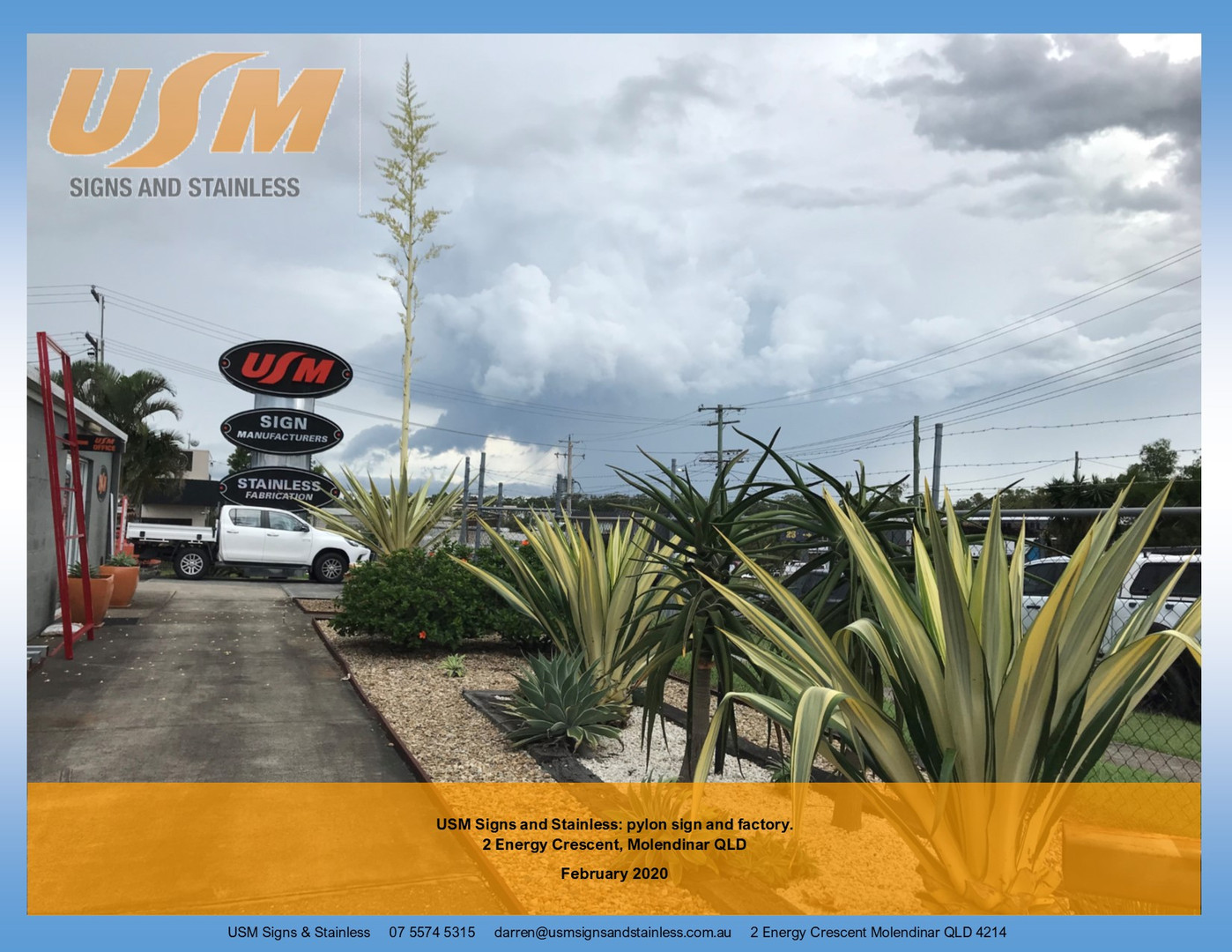 USM Signs & Stainless pylon sign
