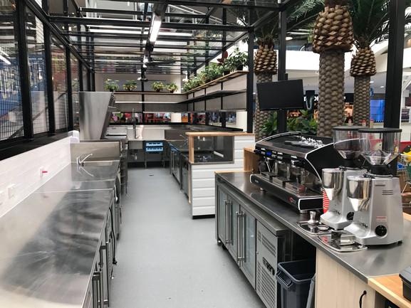 Above fridge benchtops in food prep area