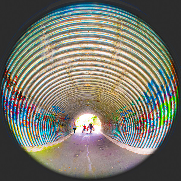 Family Entering Tunnel