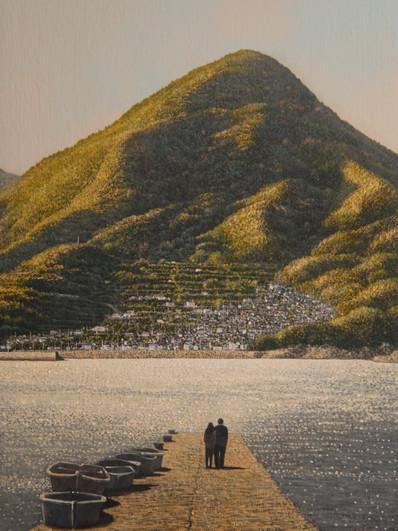 黄昏色の風 安下庄 嵩山