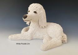 White Poodle Urn