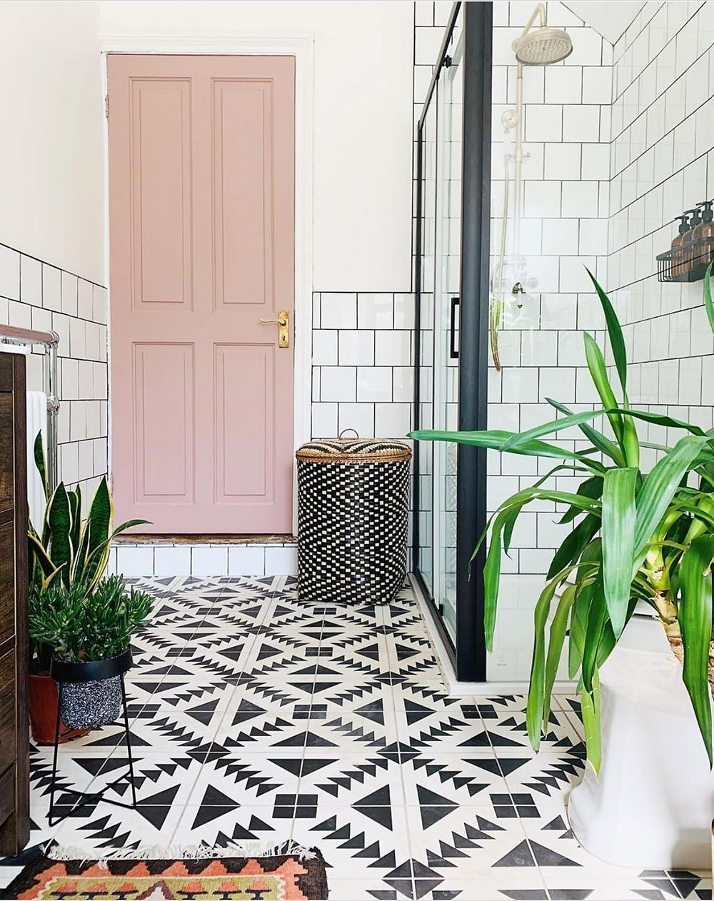 pink bathroom door
