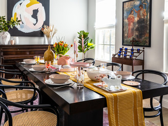 a modern + colorful thanksgiving table
