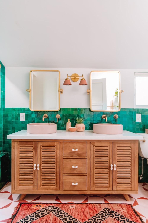 pink bathroom tile and sink