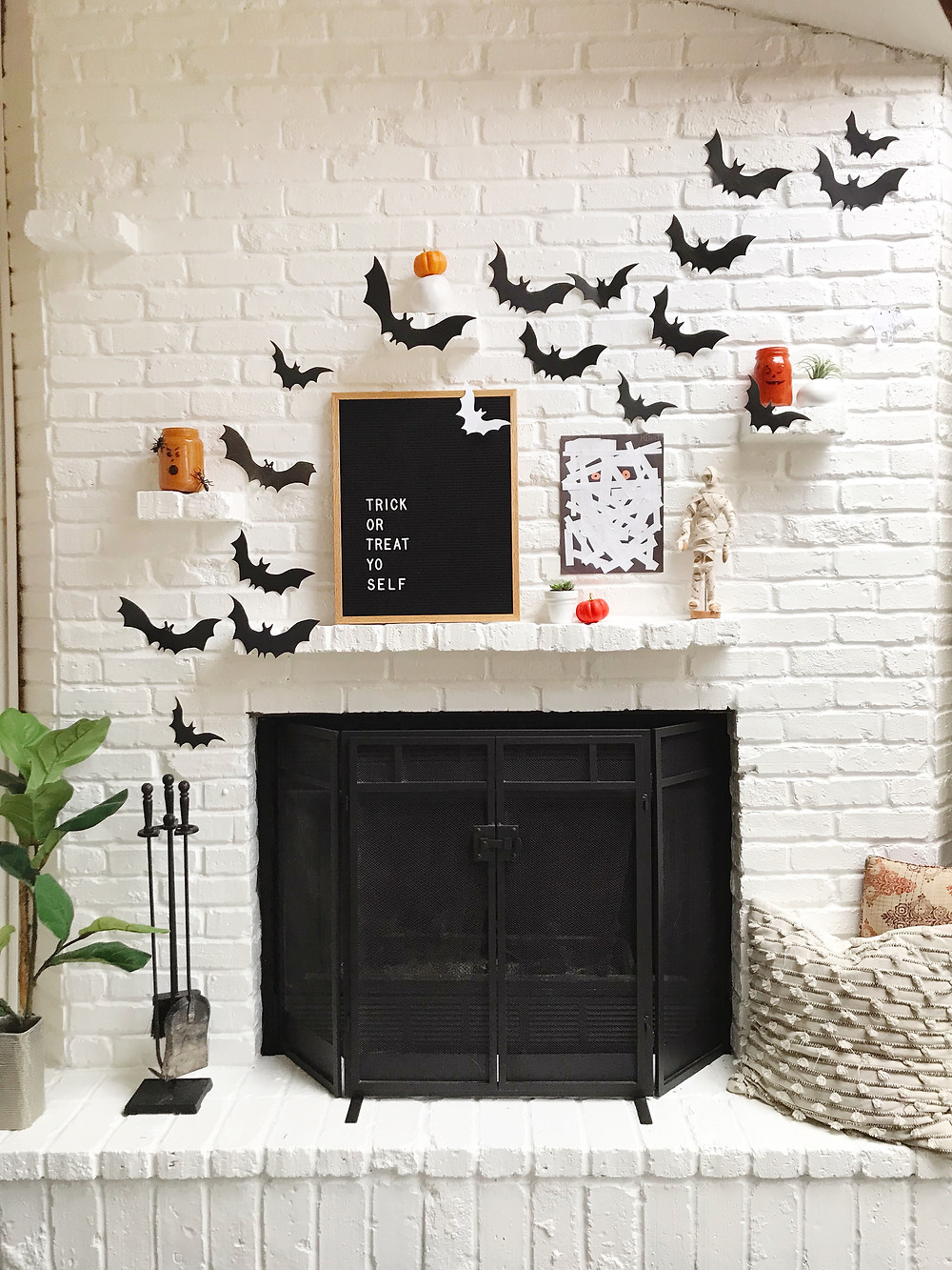 modern halloween mantle