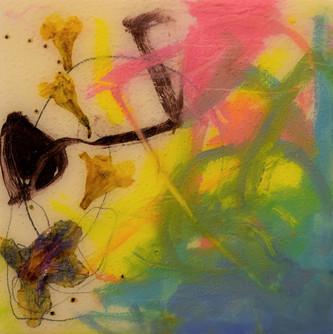 azaleas and yellow jasmine,5x5,oil,flowe