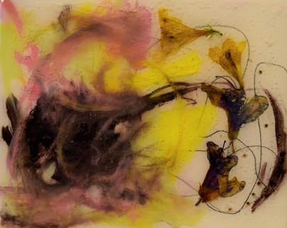 a swirl of flowers,5x6,flowers,oil,resin