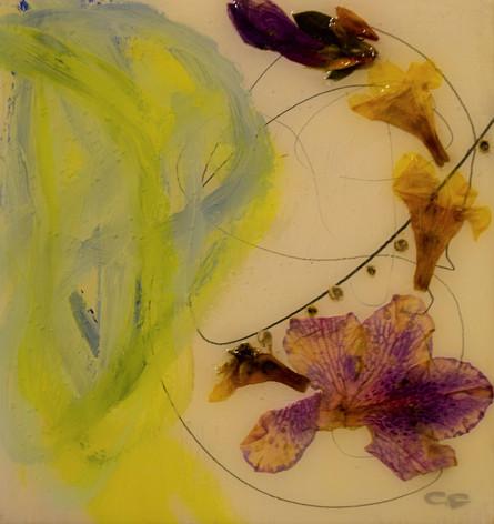 untitled,5x5,flowers,oil on wood,2021