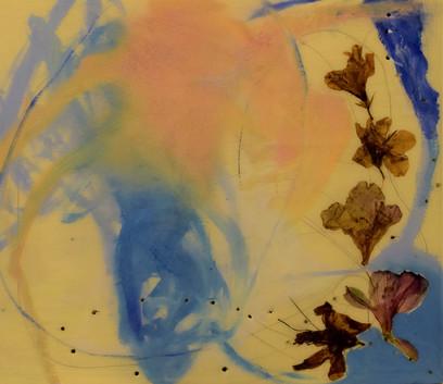 natures circle #2, 12x14,oil, resin, flo