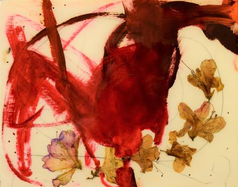 stuck on you,12x14,flowers,moth,oil,resin on wood,2021.JPG