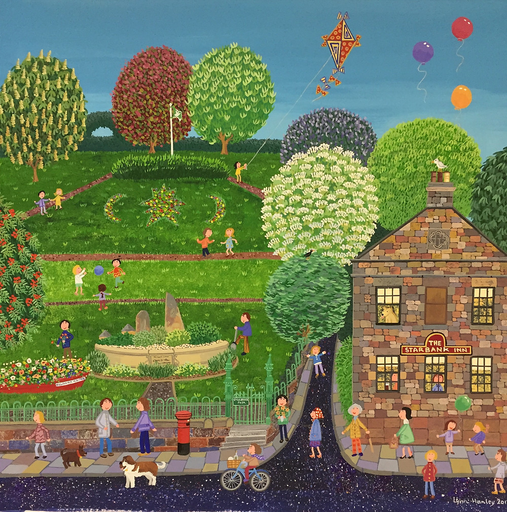 A recent commission of The Starbank Inn and Park. I loved doing this painting and learning about a new place. Starbank House was built in 1815and belonged to Alexander Goalen, uncle of William Gladstone. The star shaped flower border is thought to represent a compass.