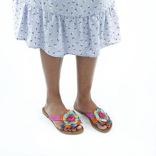 Lazamani Pantolette Blume Bunt