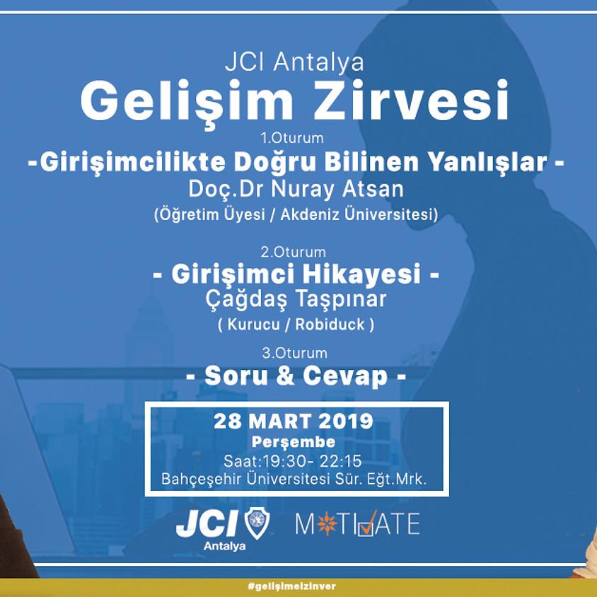 """Gelişim Zirvesi – Mart """"Girişimcilikte Doğru Bilinen Yanlışlar"""" """"Bir Girişimcilik Hikayesi"""" Robiduck JCI Antalya"""