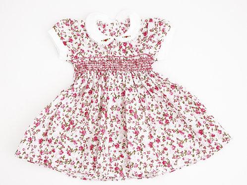 Hand Smocked Dress - pink floral