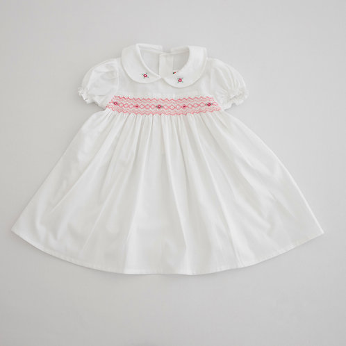 Hand Smocked Dress white