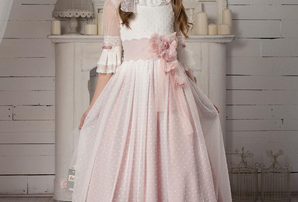 Vestido Niña Flocado Rosado