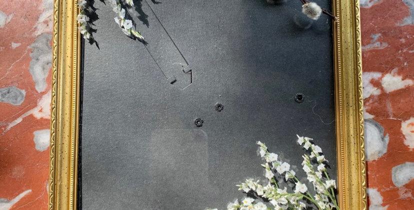 Cadre photo doré fleurs sèches