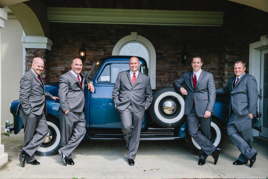 Groomsmen by the Blue Truck