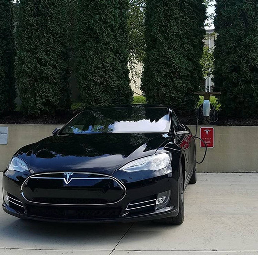 Tesla charging stations available