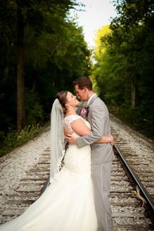 Wedding Photo on the Train Tracks