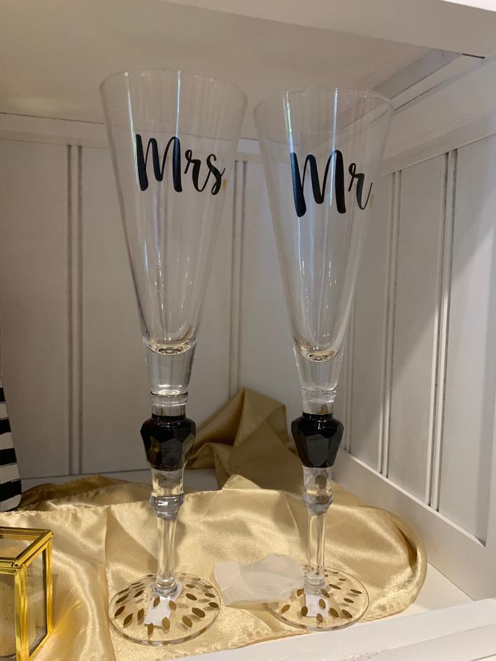 Mr. & Mrs. Toasting Flutes
