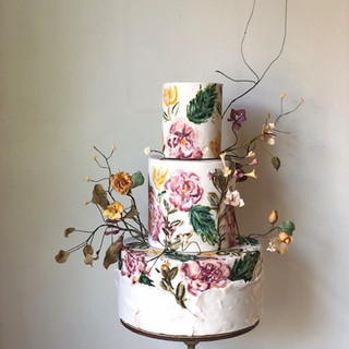 three tier hand painted with sugar flowers