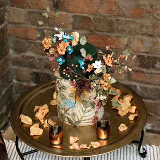 Two tier handpainted with flowers