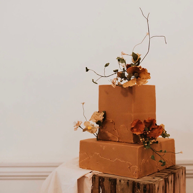 Two tier wedding cake with sugar flowers