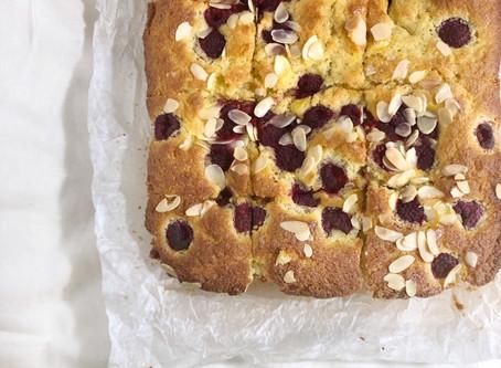 Raspberry, almond and custard tray bake