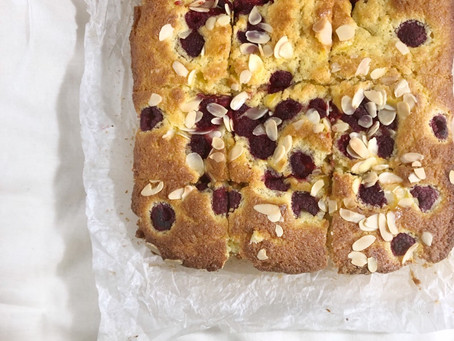 Raspberry, almond and custard tray bake