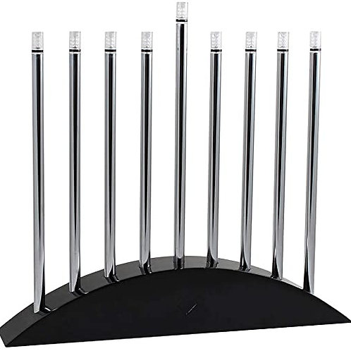 Large LED Electric Menorah - New Classic Black & Silver Arch Style