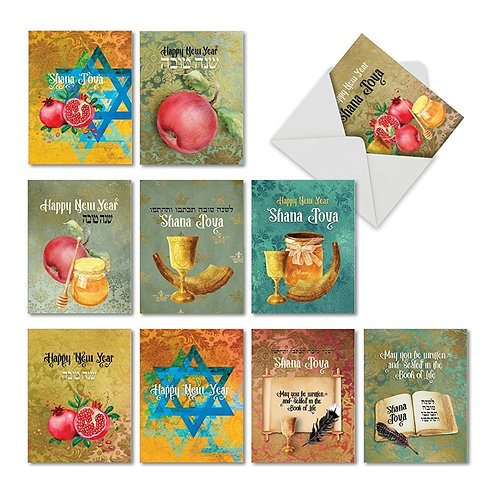 Shana Tova - 10 Assorted Jewish New Years Cards with Envelopes (4 x 5.12 Inch)